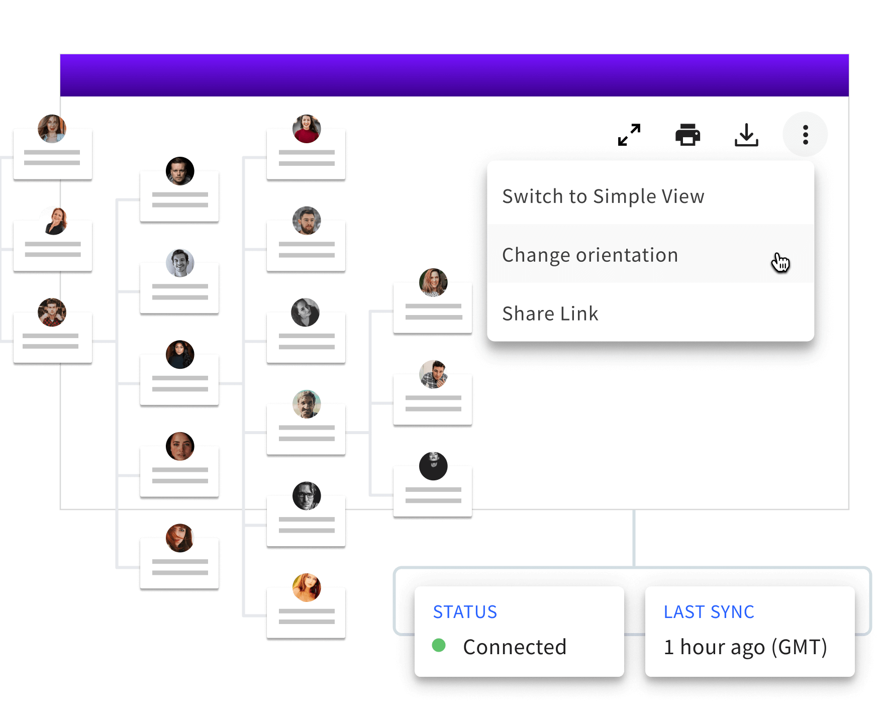 Org chart with view customization