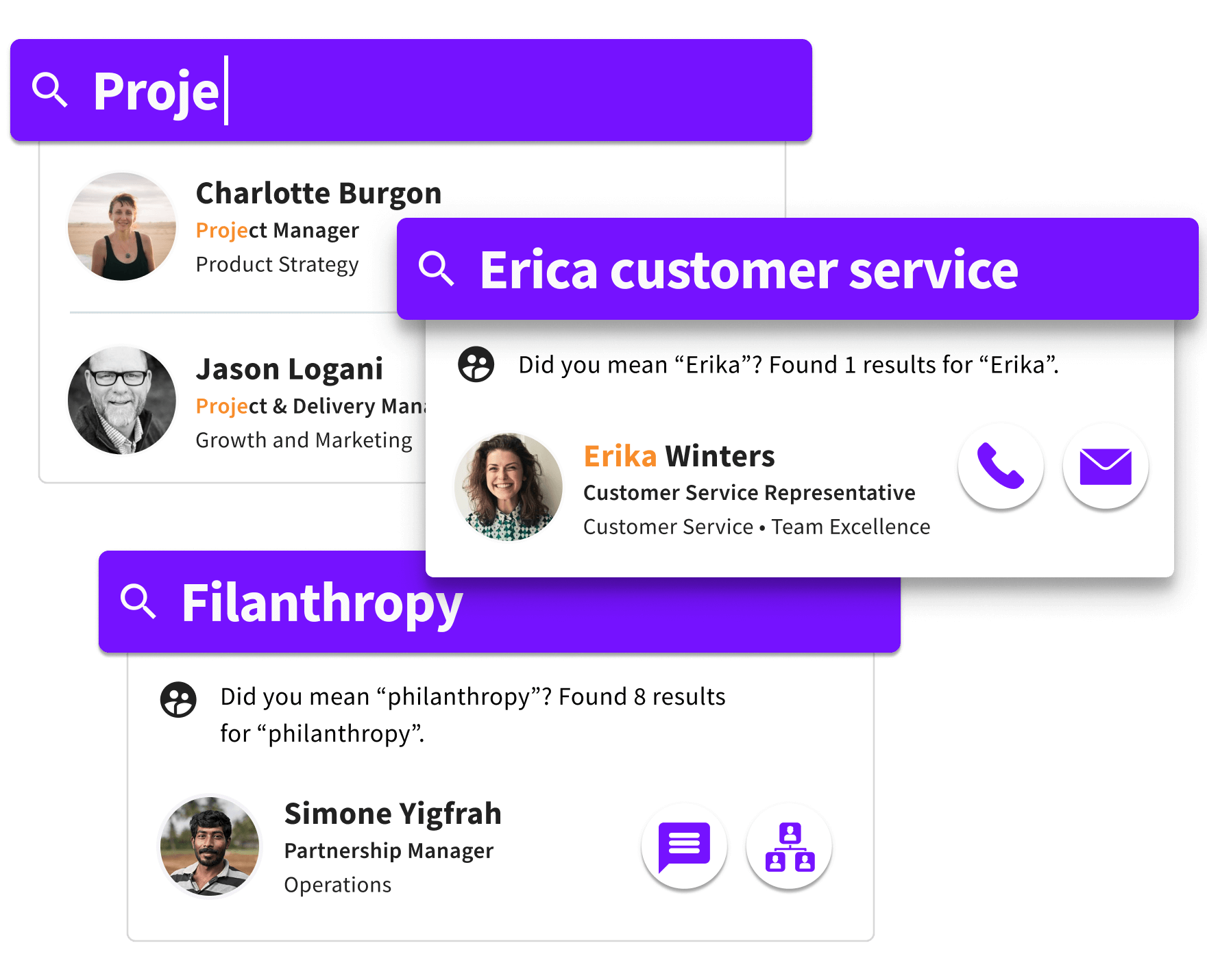Sift search for Project, Erica Customer service, and Philanthropy