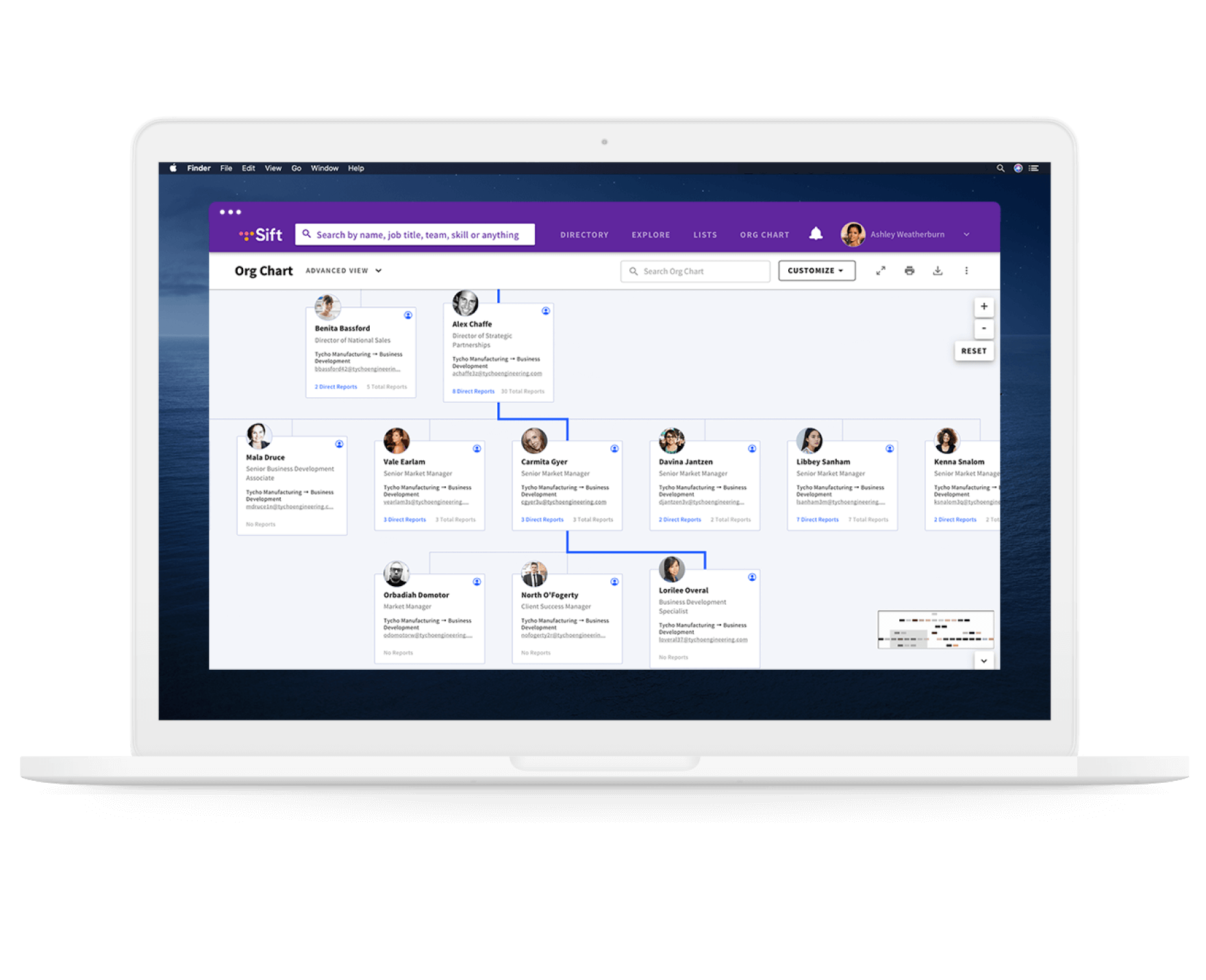 A laptop with the desktop application of Sift's org chart