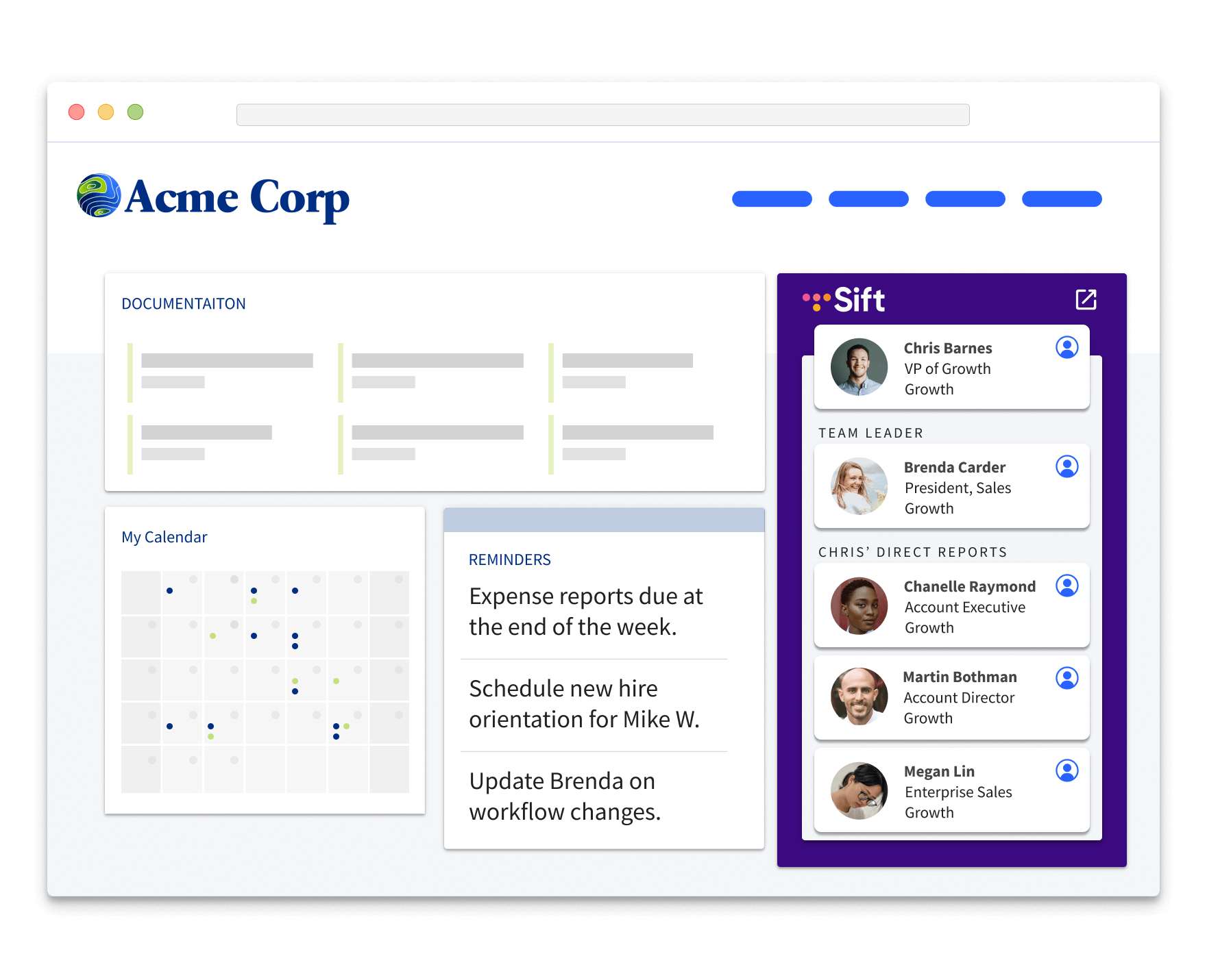 A company intranet with an embedded Sift search widget