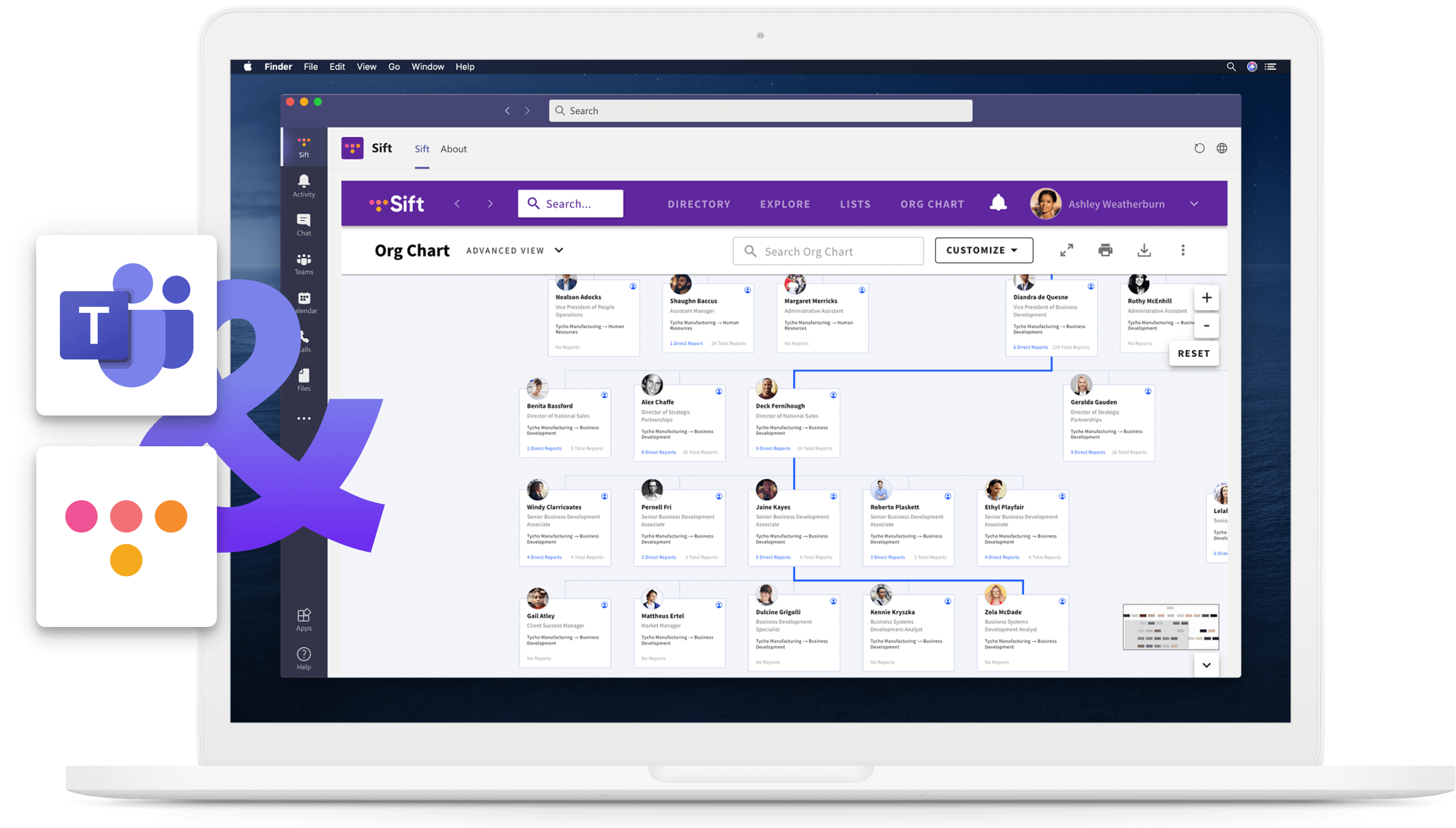 Microsoft Teams with Sift on a laptop