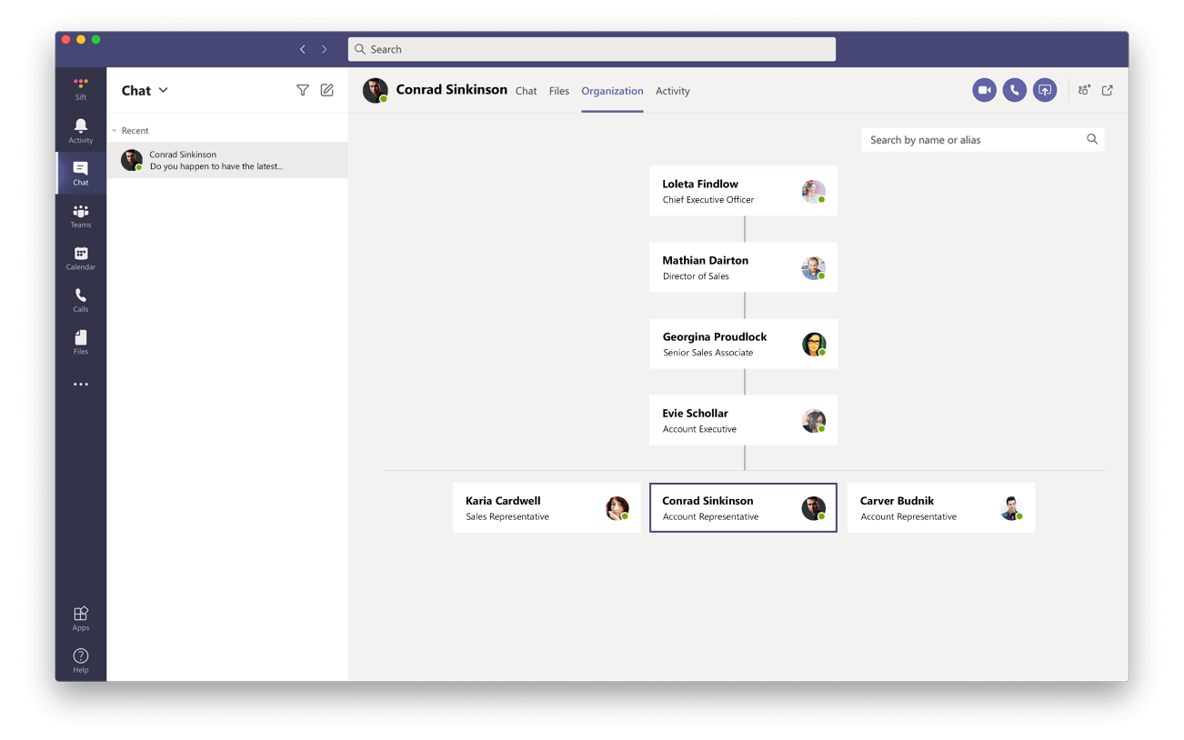 Microsoft Teams without Sift org chart view