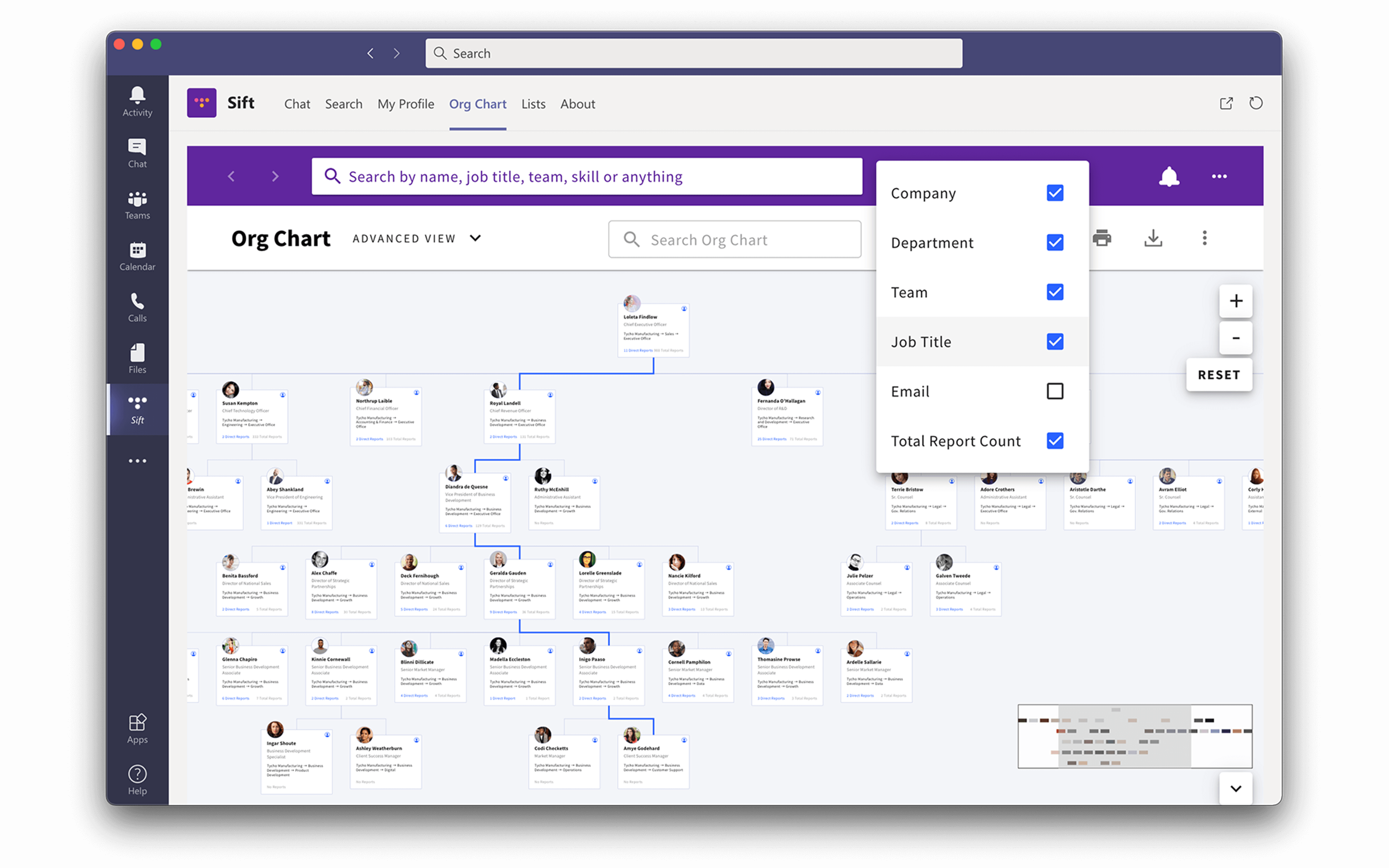 Microsoft Teams with Sift org chart view