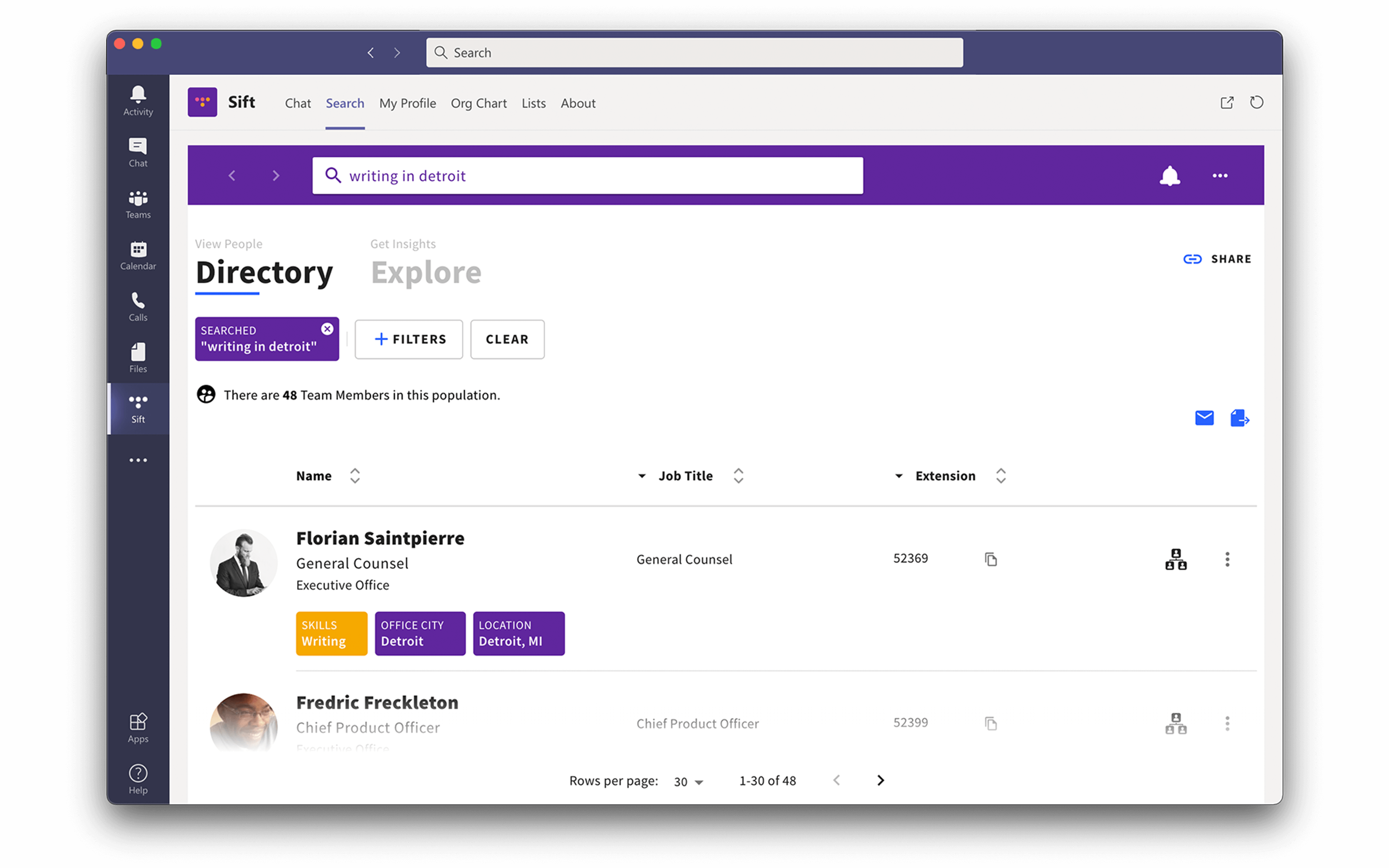 Microsoft Teams with Sift employee directory view