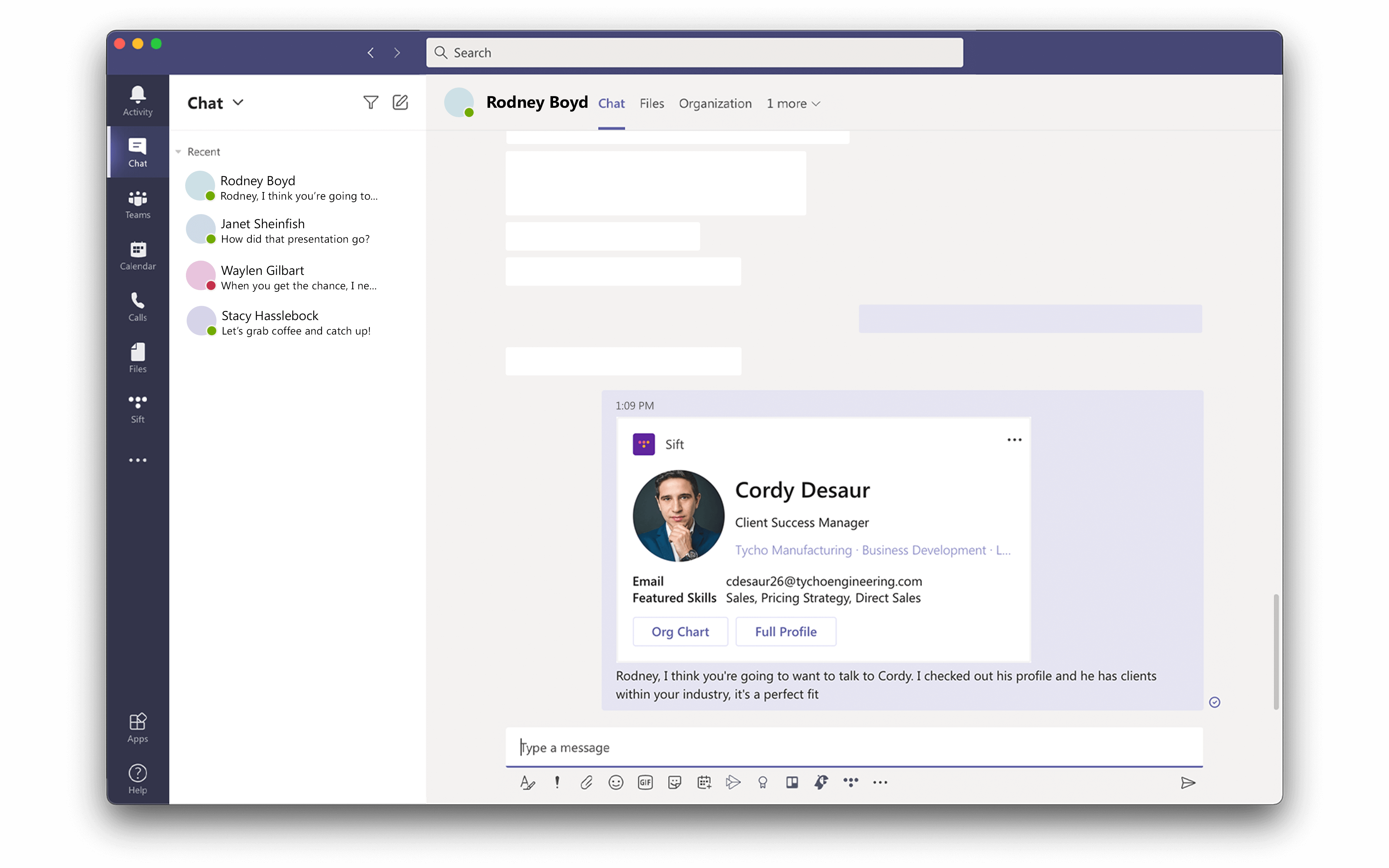 Microsoft Teams with Sift sharing profile in chat conversation