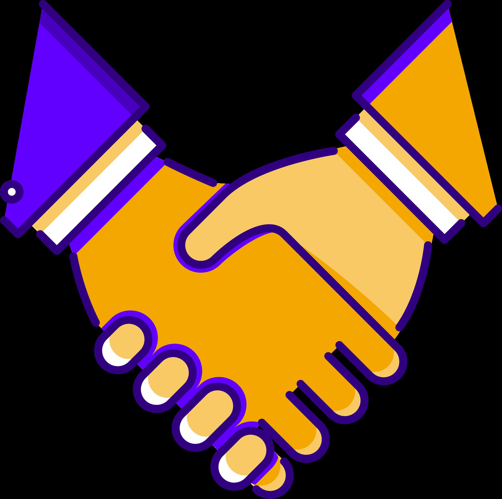 A handshake between two sales people