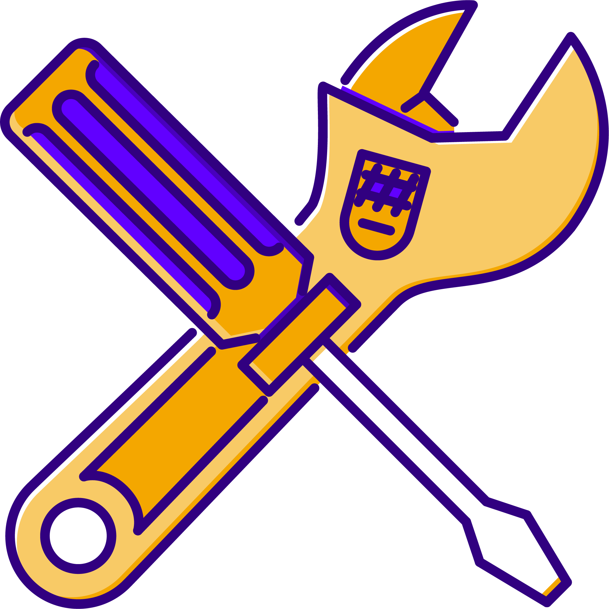 A wrench and screwdriver