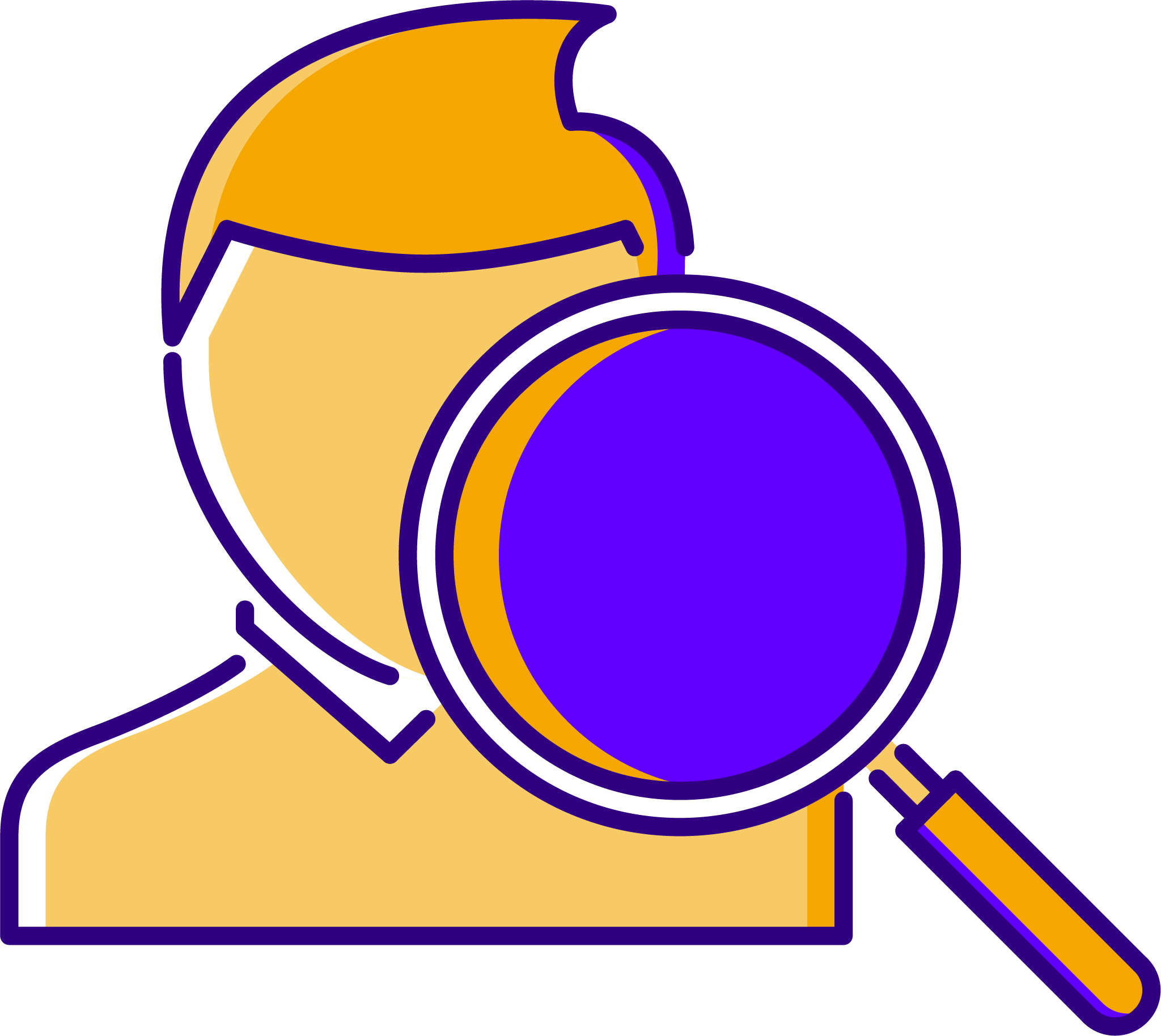 A recruiter with a magnifying glass