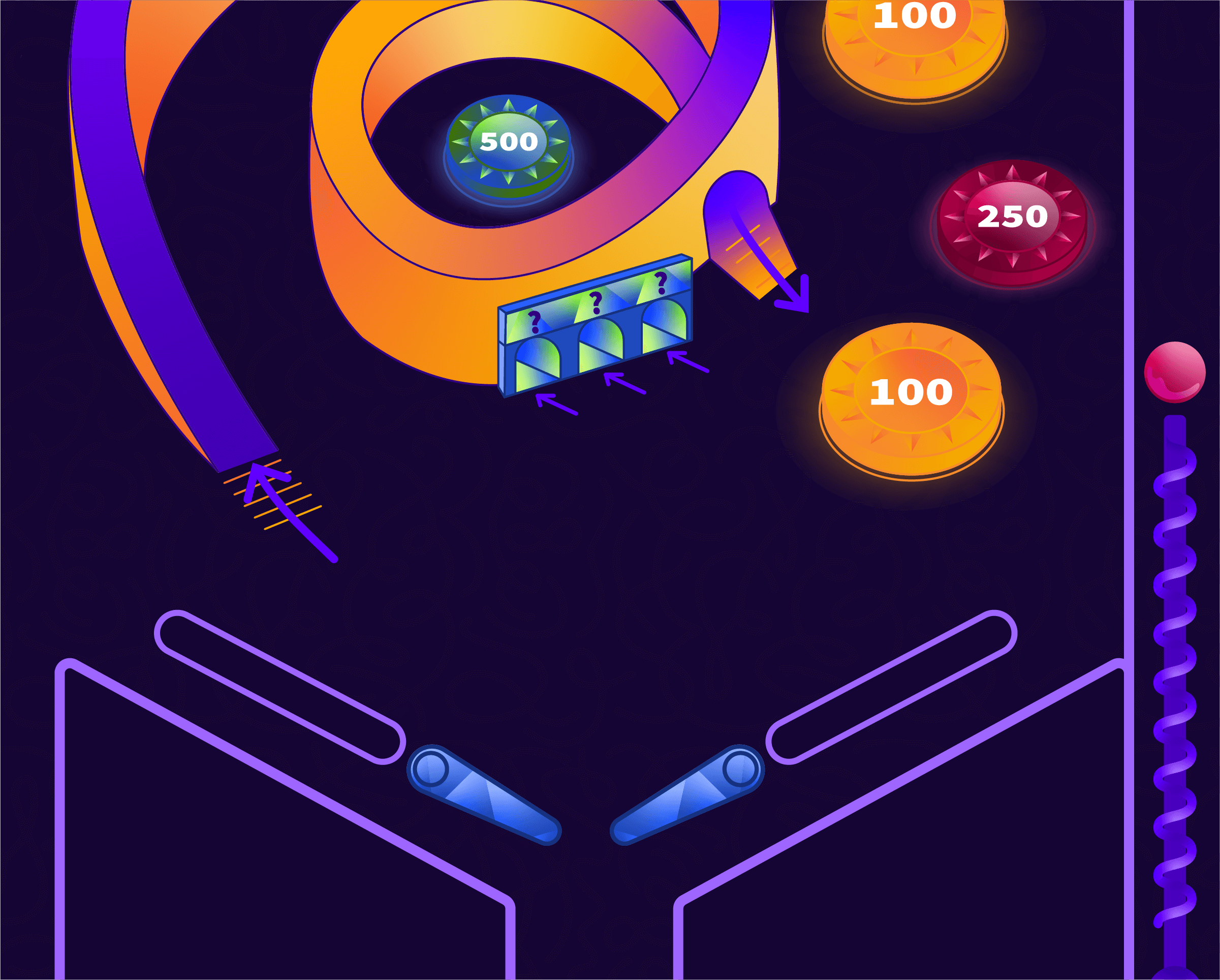 an illustration of the playfield of a pinball machine