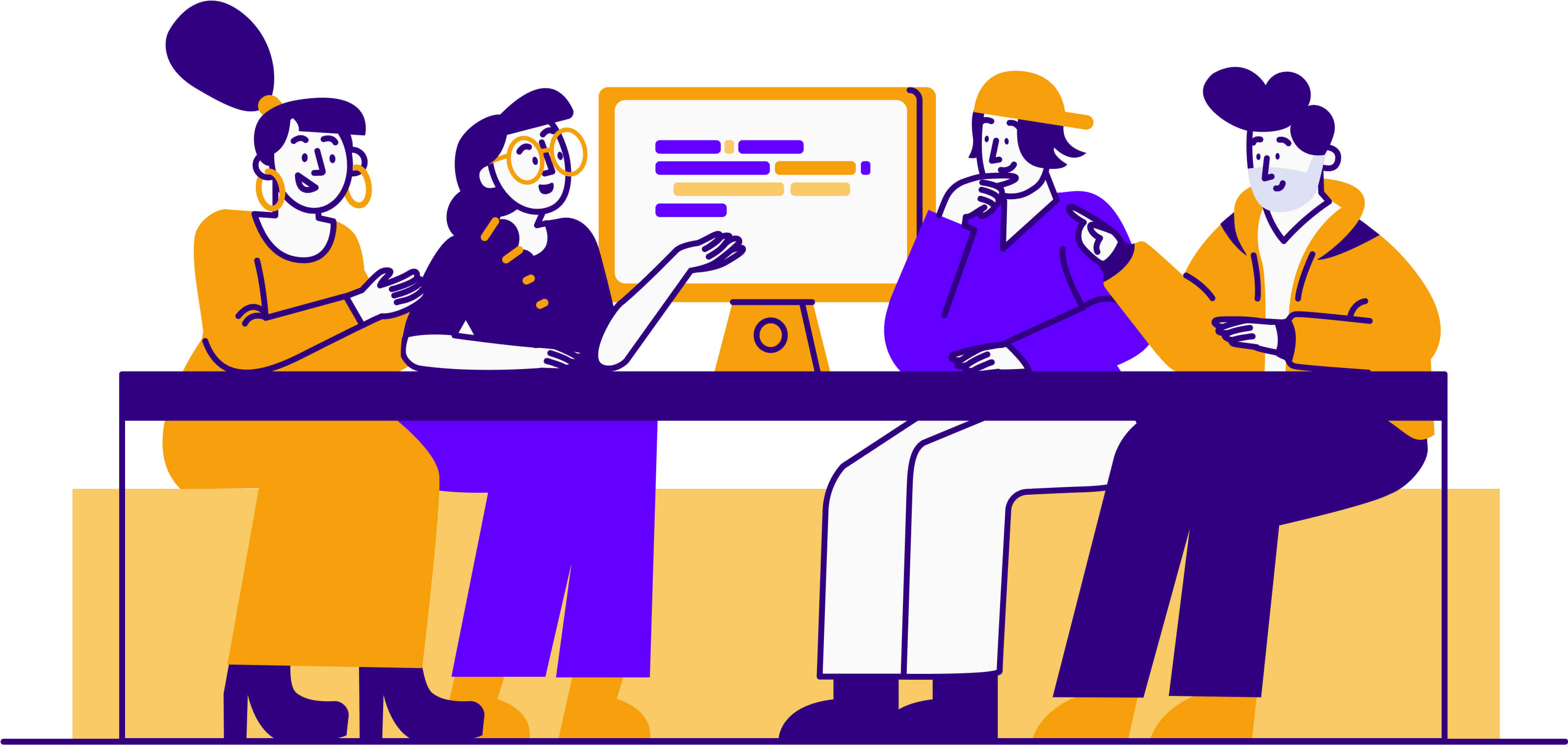 illustration of people sitting around a table working