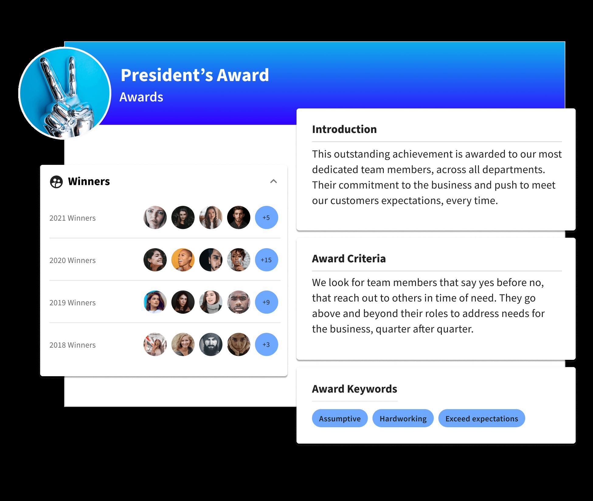 A profile for a company award