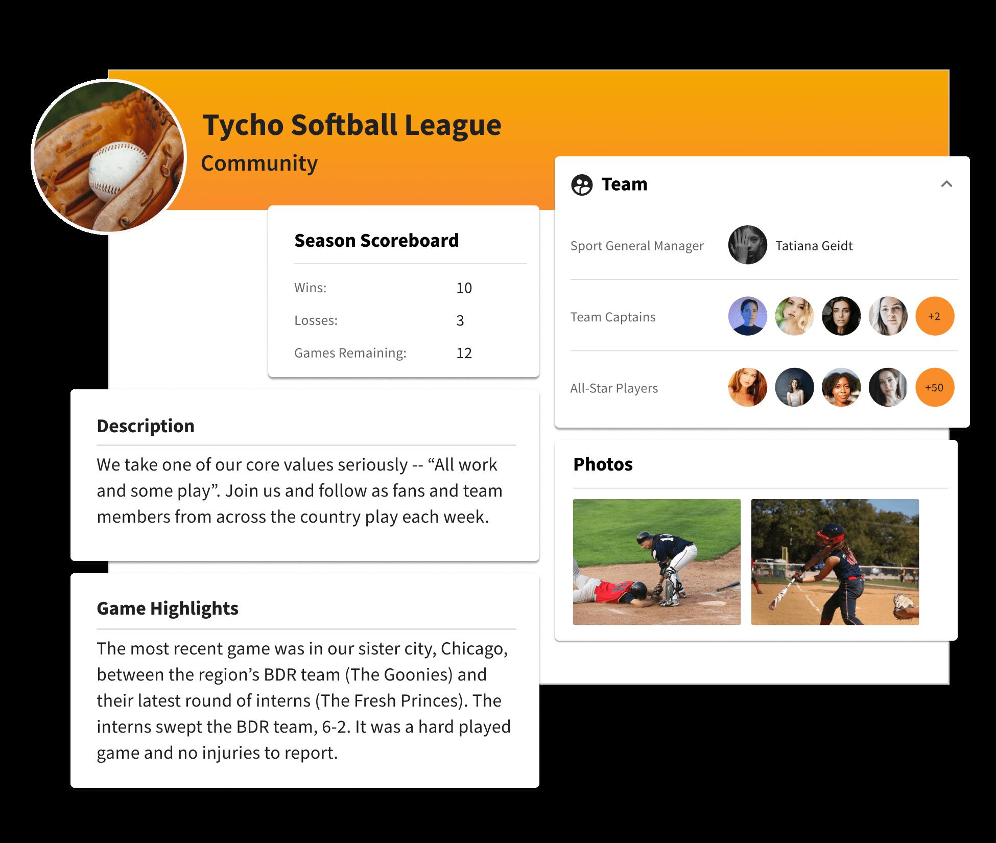 A profile for a company softball league