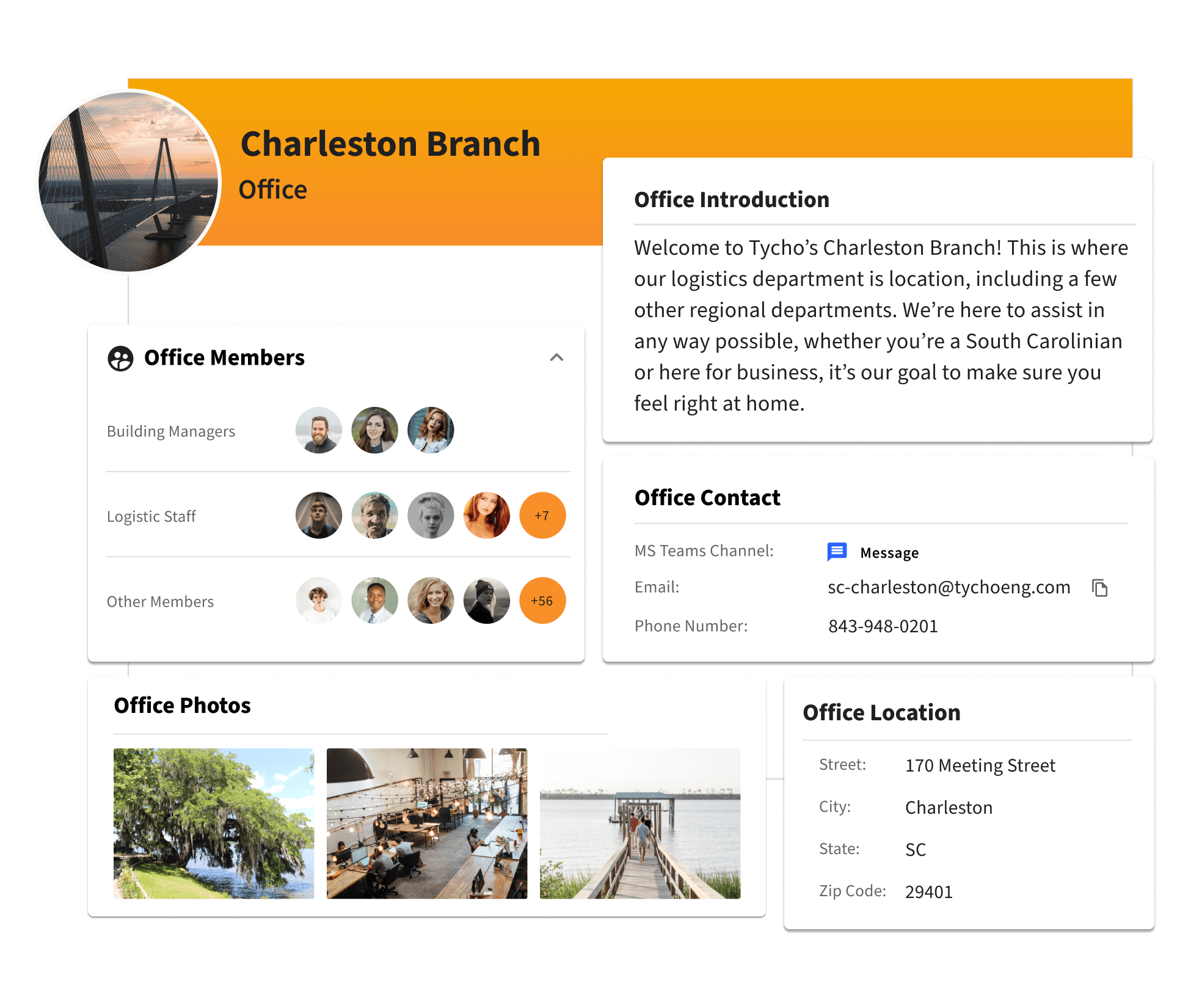 A profile for an office location