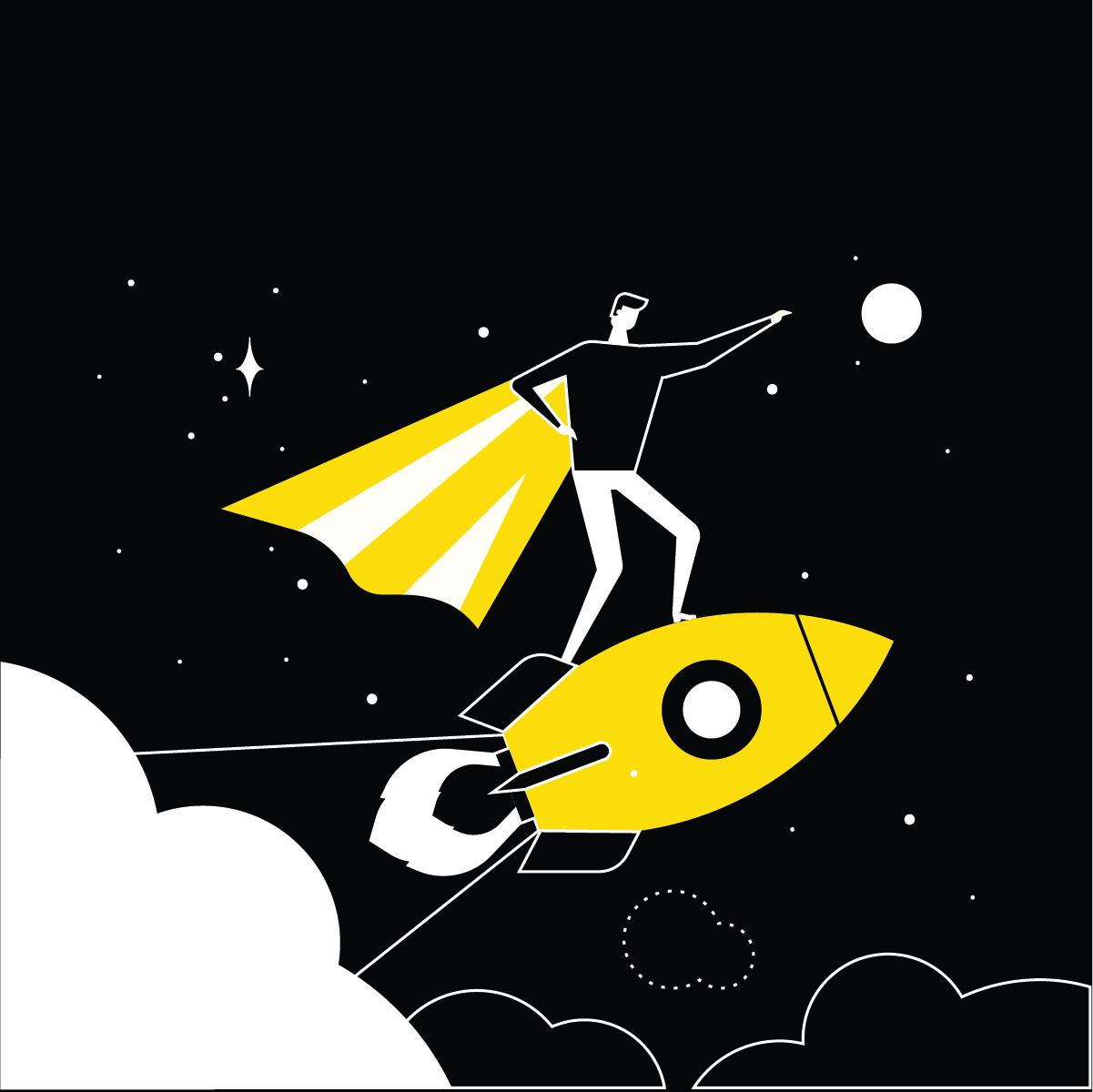 A superhero on a rocket