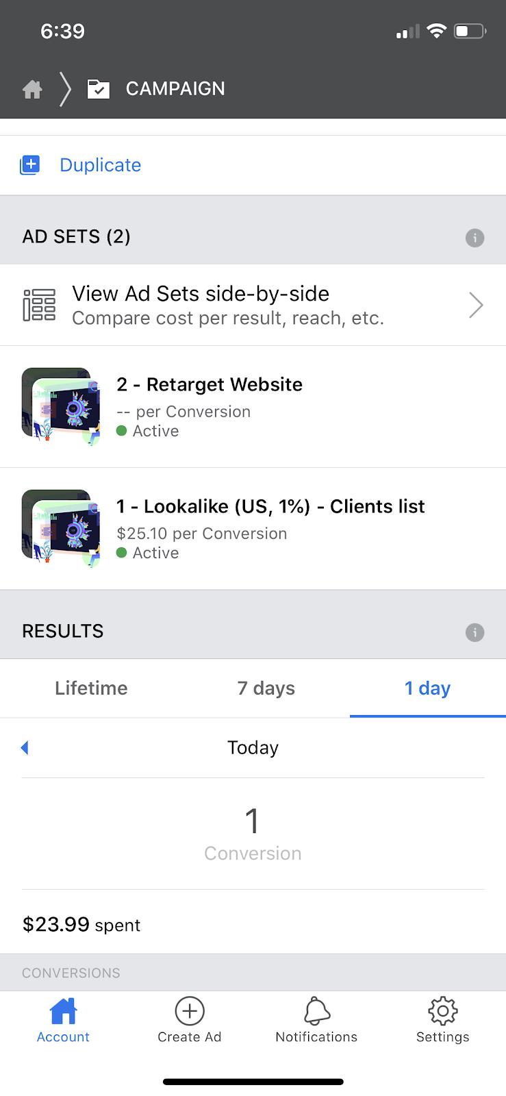 A Facebook Ads dashboard