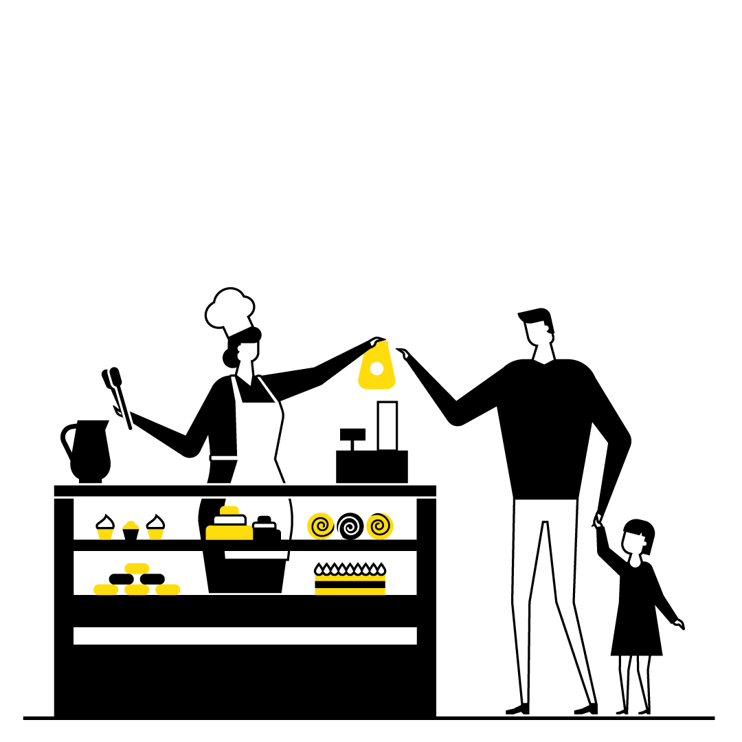 An illustration of a man and a restaurant employee interacting