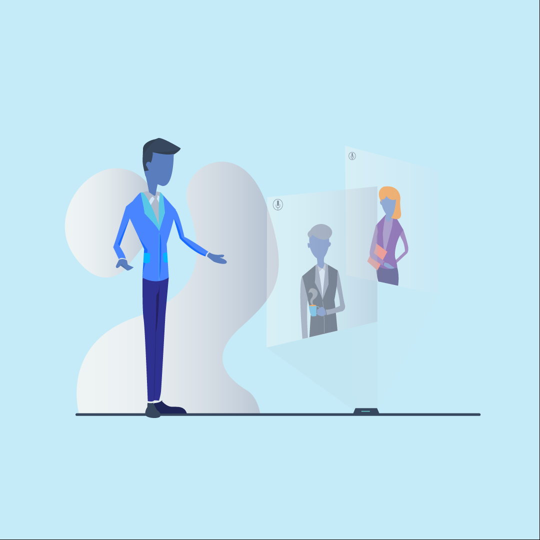 An illustration of a man talking to screens