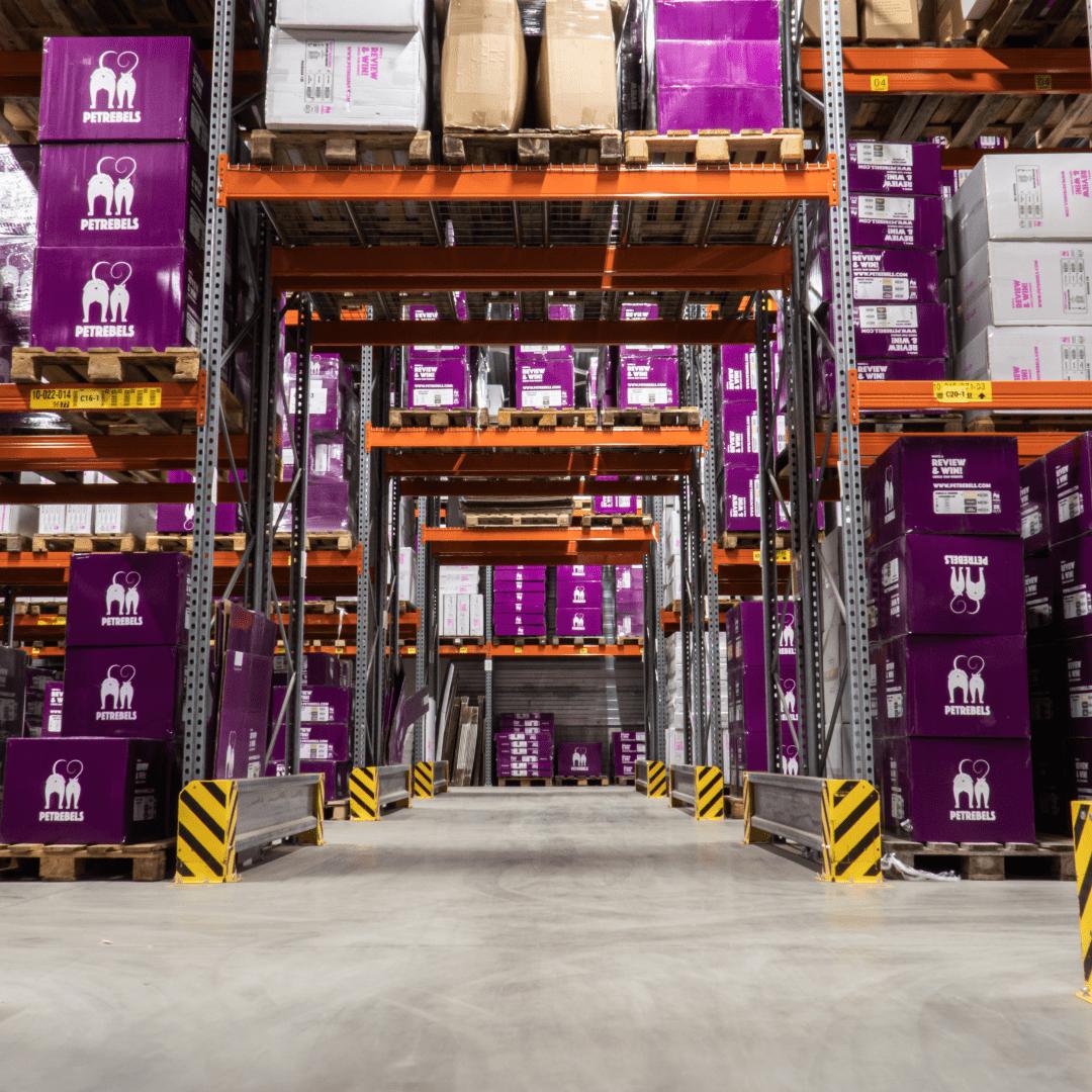 A warehouse with storage racks