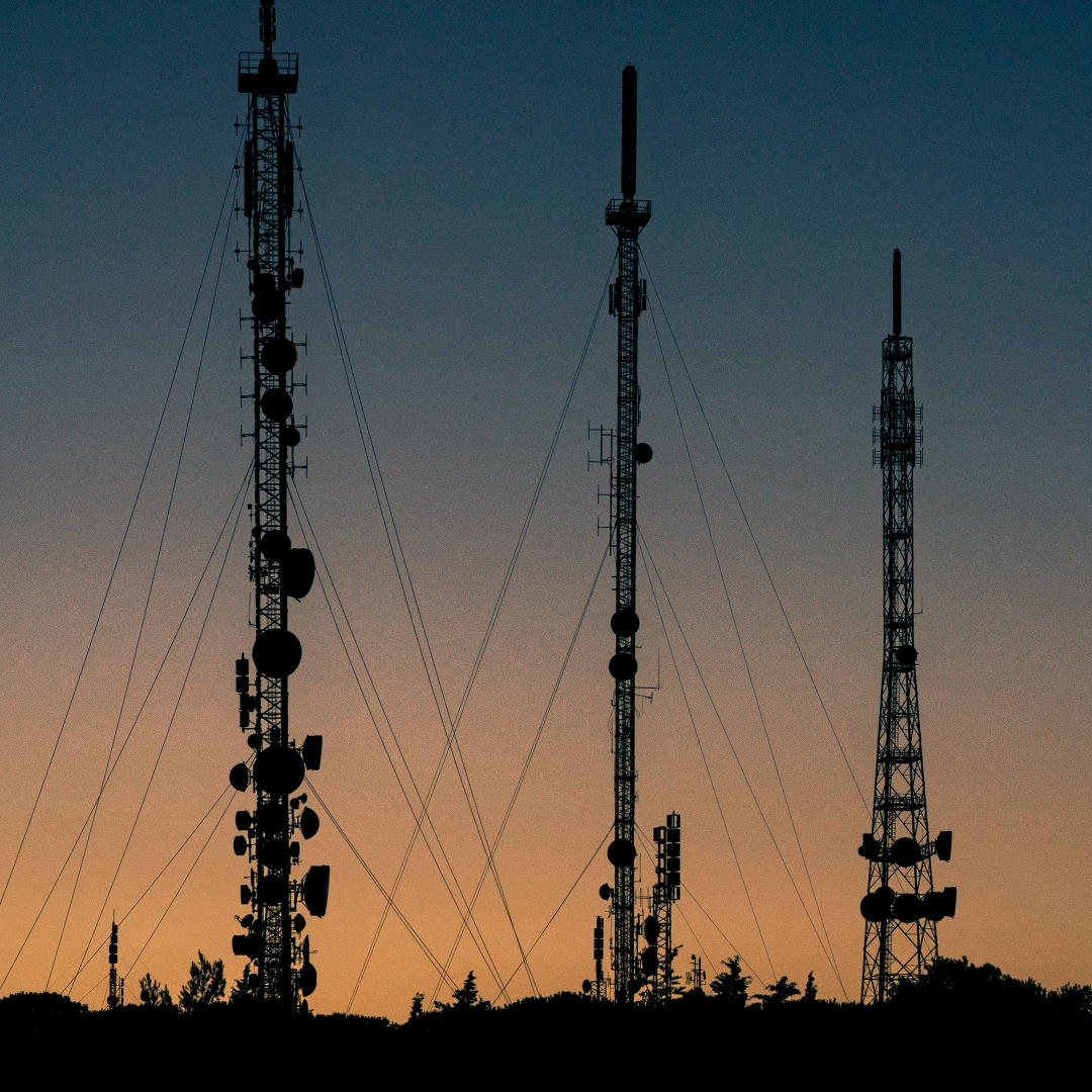 a group of cellphone towers