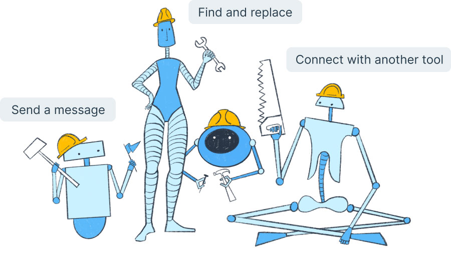 Robot family holds tools that