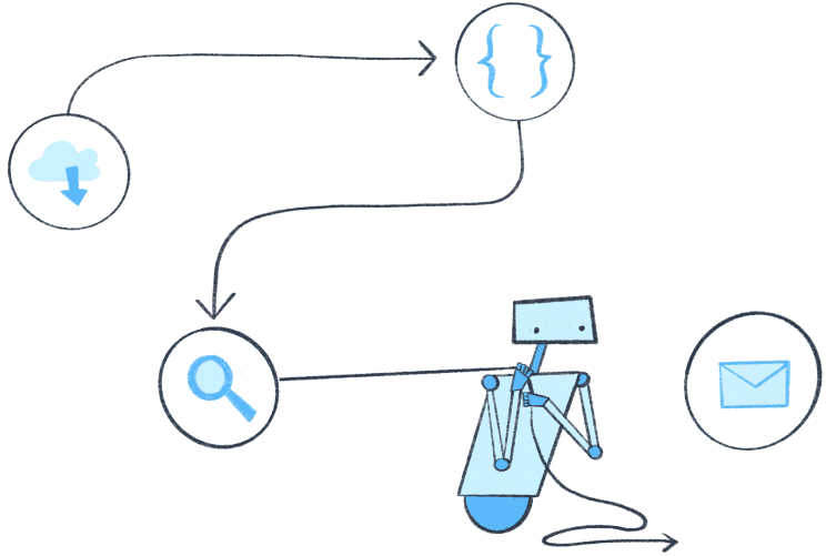 Blue robot pulls balloons representing steps that process data in Parabola