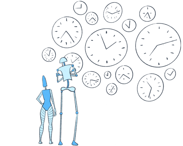 Two blue robots examine a wall of analog clocks representing scheduling flows in Parabola