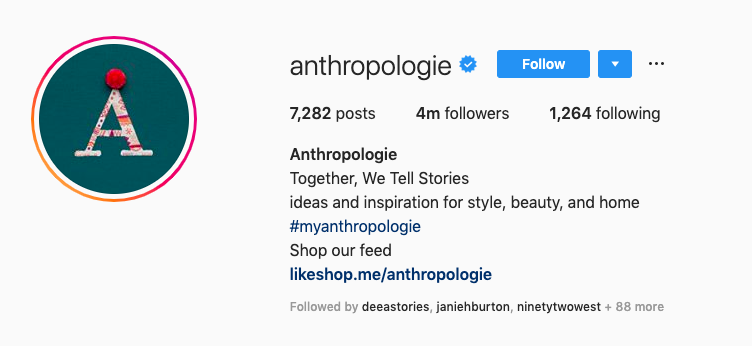 UGC instagram Anthropologie