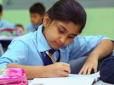 GIIS Primary School Girl studying for CBSE Curriculum examination