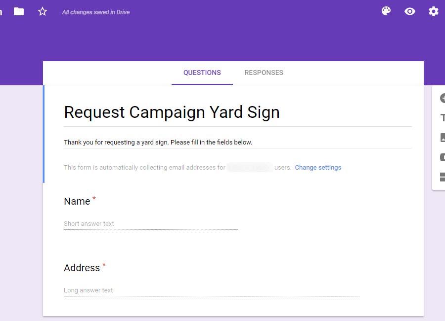 Yard Sign Tutorial: Minimal Google Yard Collection Form