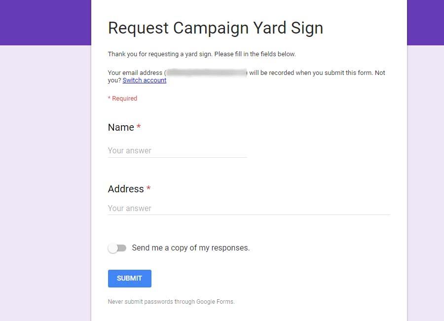 Yard Sign Tutorial: Submit Dummy Map Data