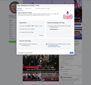"Pop-up showing what happens when clicking on ""Page Transparency"" link on Facebook"