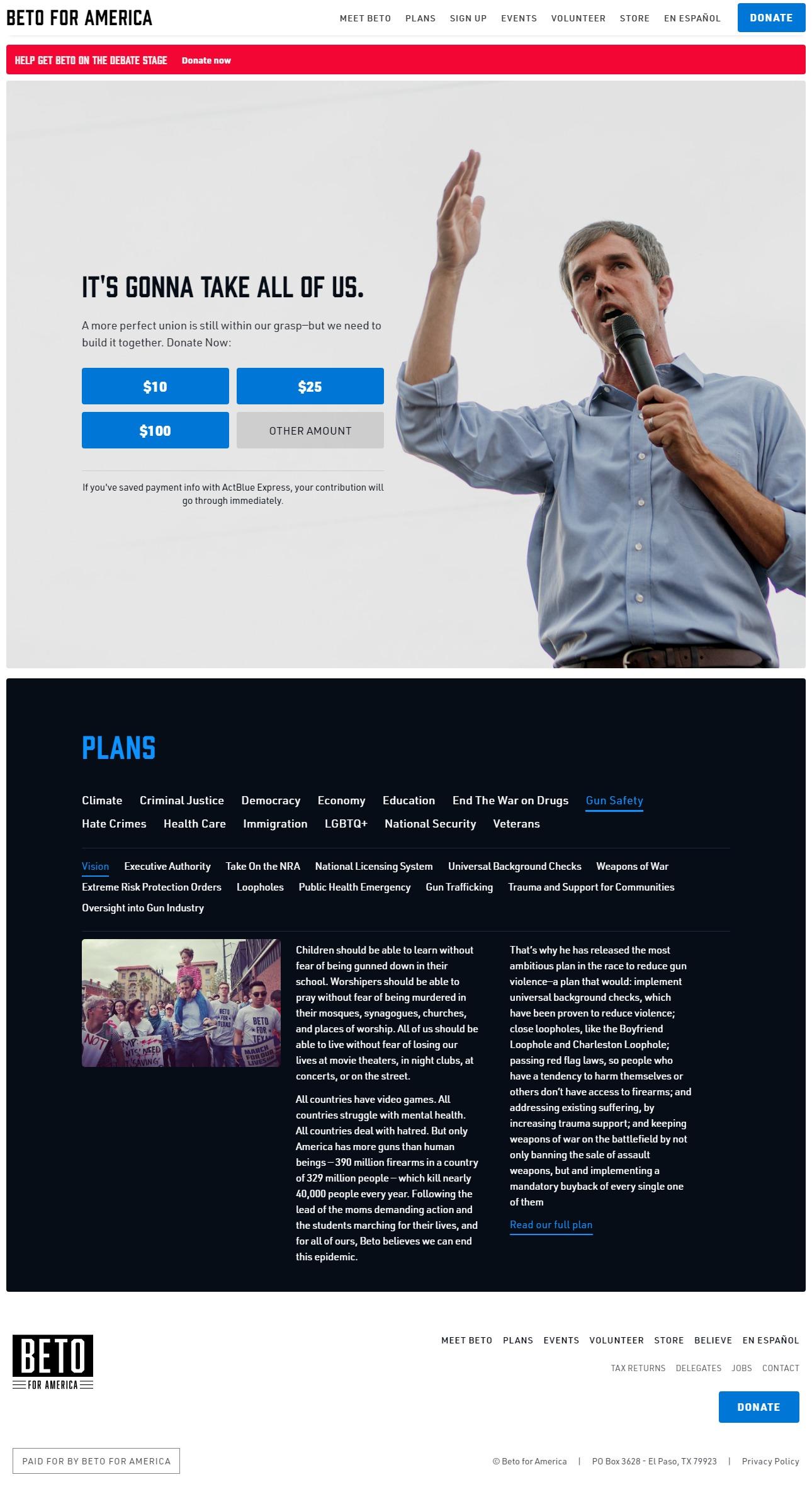 Homepage Snapshot for November 1, 2019: Former Representative Beto O'Rourke