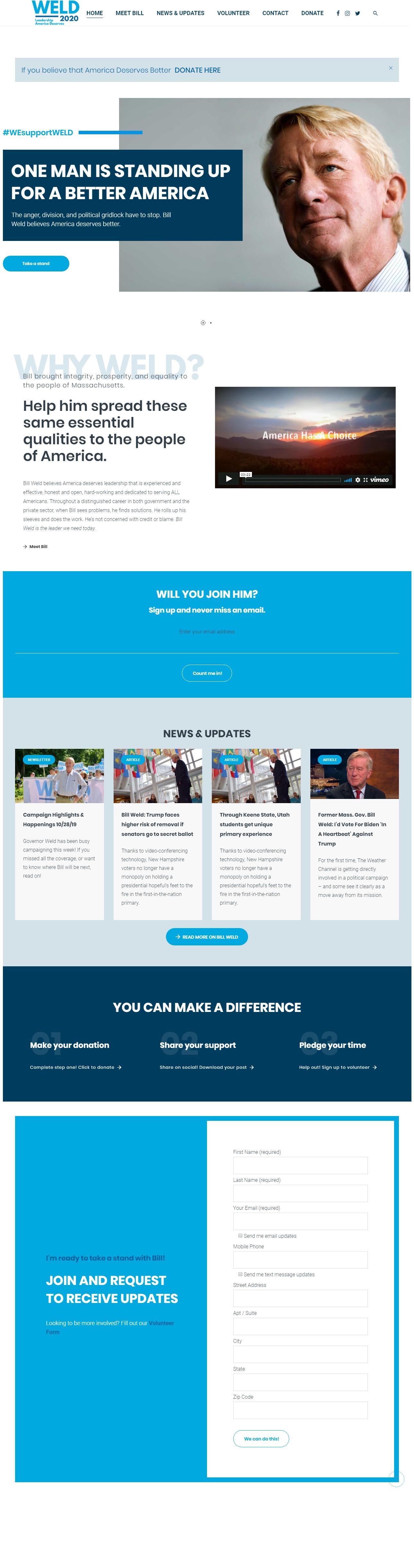 Homepage Snapshot for November 1, 2019: Former Governor Bill Weld