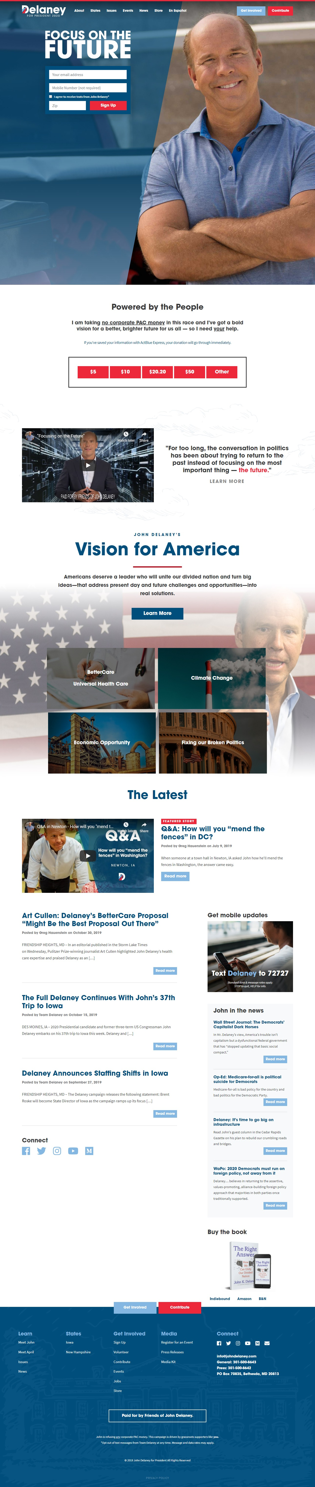 Homepage Snapshot for November 1, 2019: Former Representative John Delaney