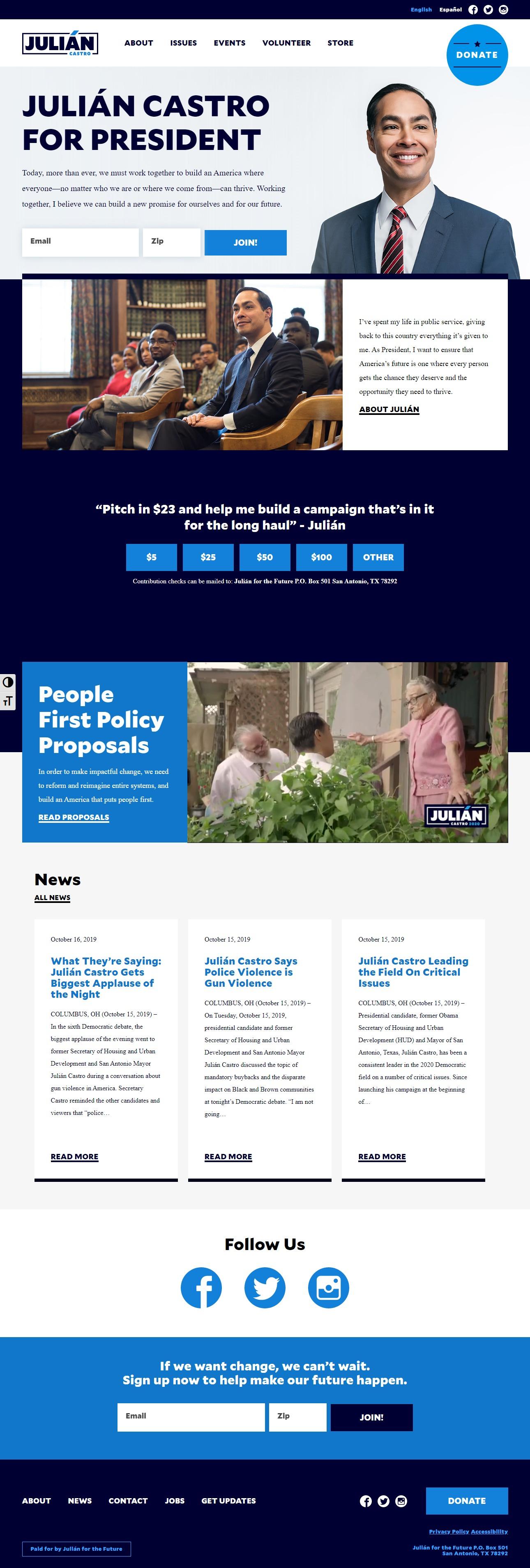 Homepage Snapshot for November 1, 2019: Former Mayor Julián Castro