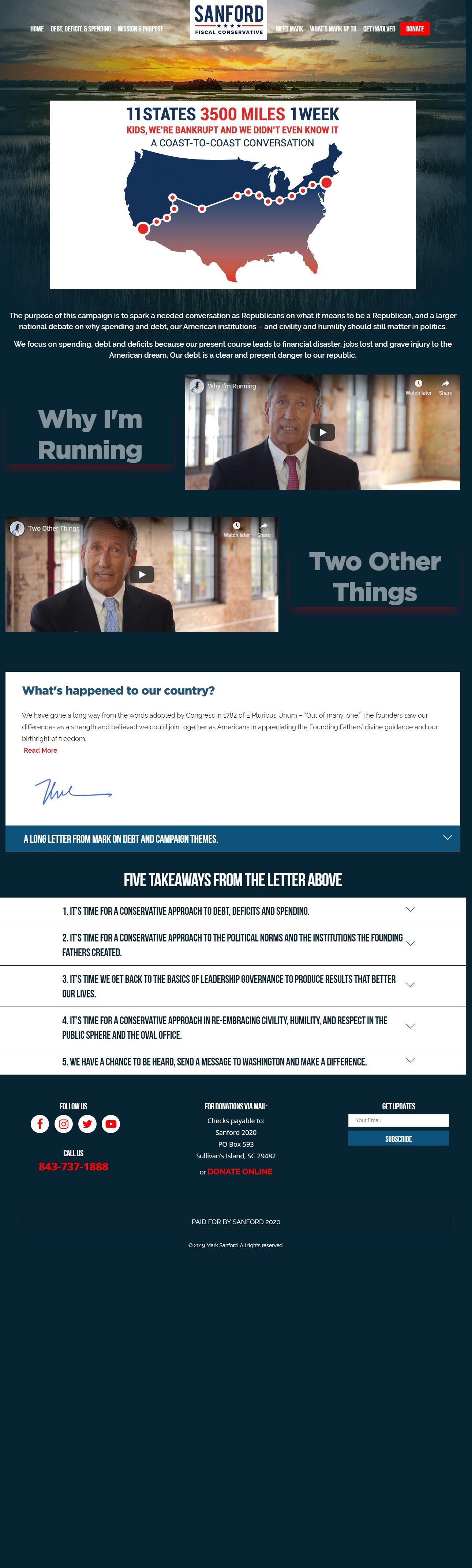 Homepage Snapshot for November 1, 2019: Former Governor Mark Sanford
