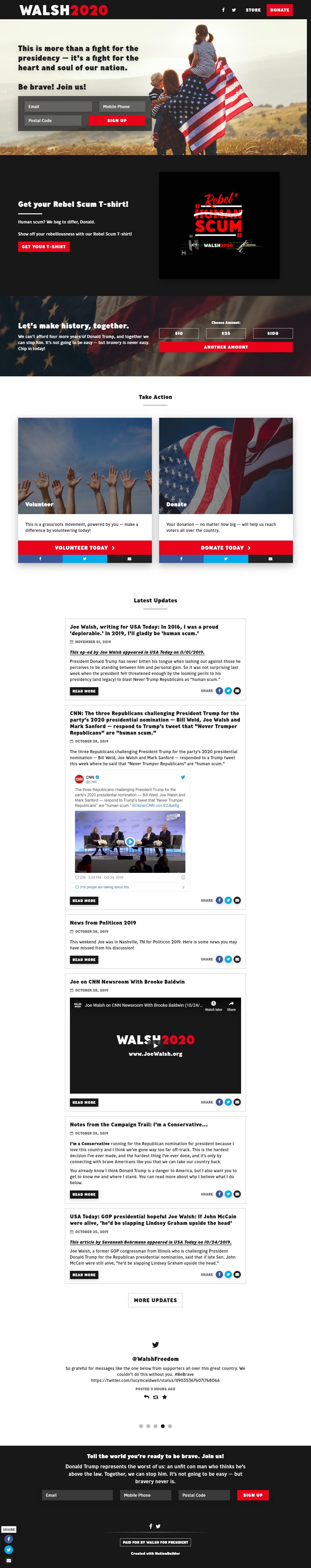 Homepage Snapshot for November 1, 2019: Former Representative Joe Walsh