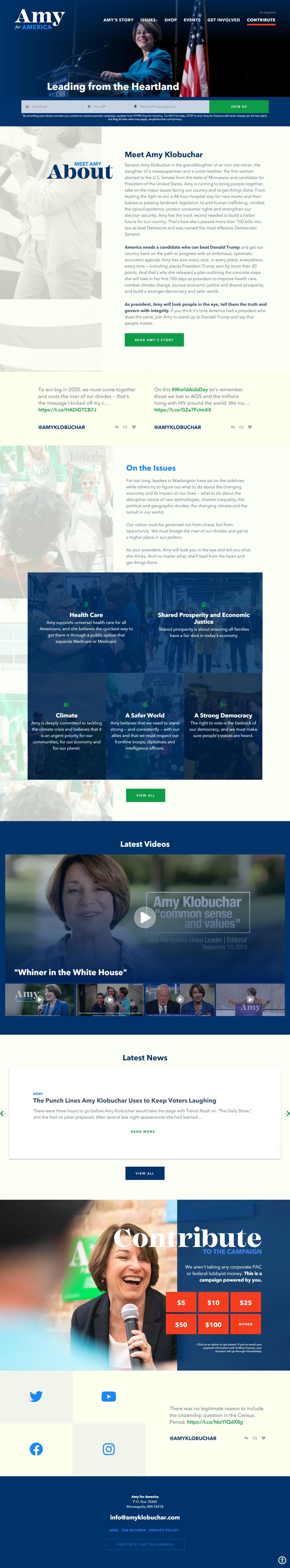 Homepage Snapshot for December 1, 2019: Senator Amy Klobuchar