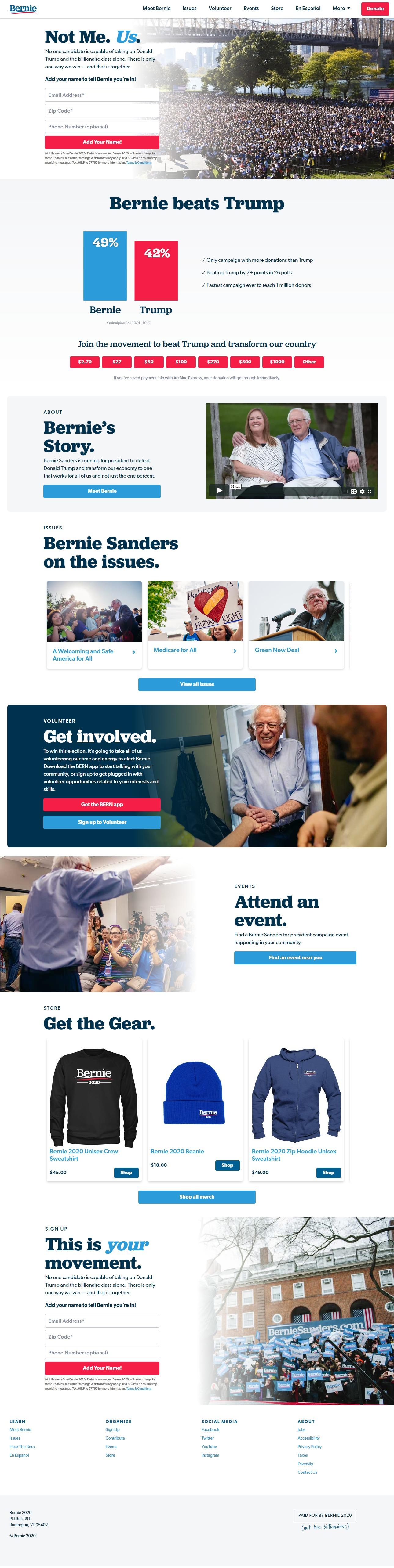 Homepage Snapshot for December 1, 2019: Senator Bernie Sanders