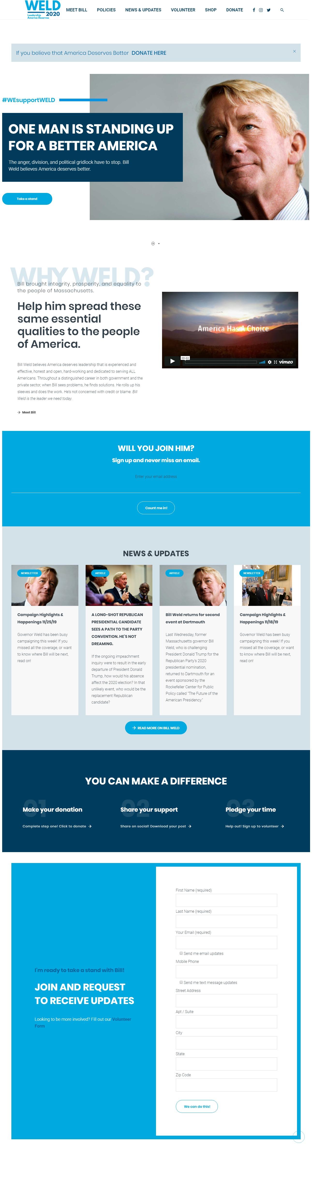 Homepage Snapshot for December 1, 2019: Former Governor Bill Weld