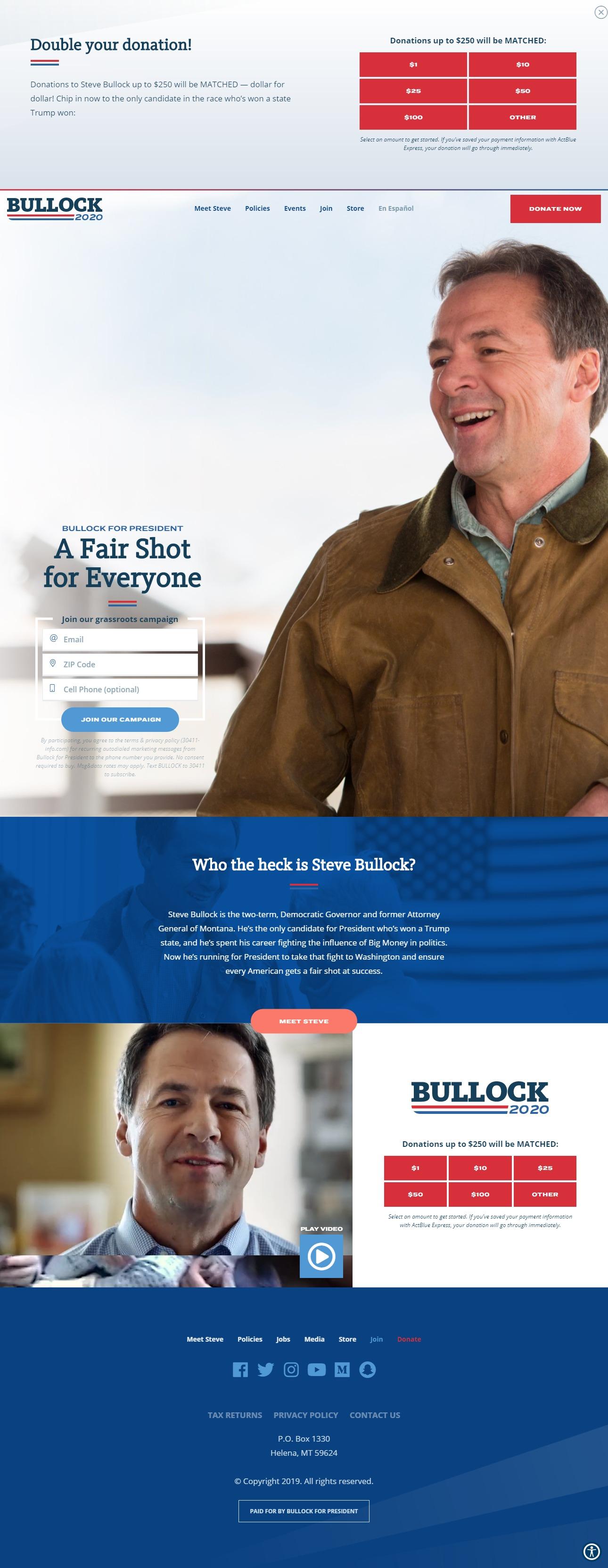 Homepage Snapshot for December 1, 2019: Governor Steve Bullock