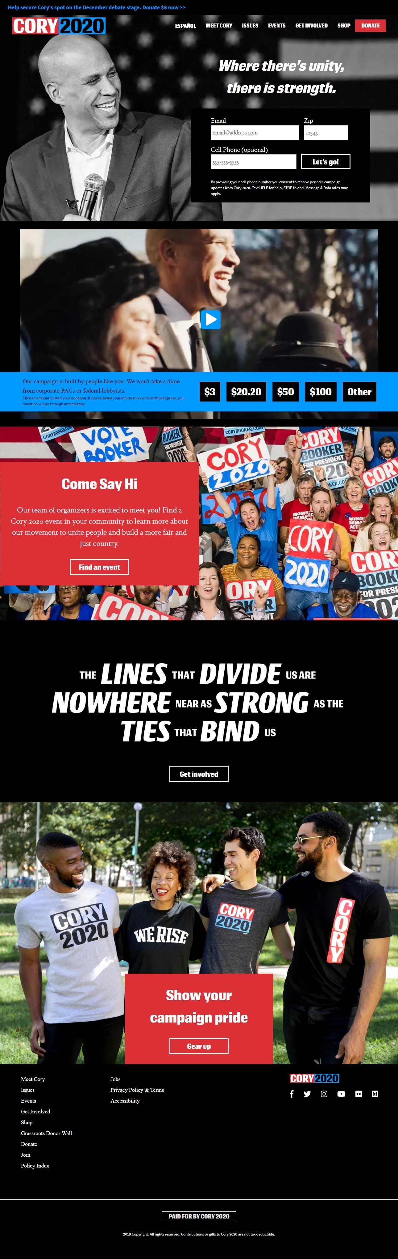 Homepage Snapshot for December 1, 2019: Senator Cory Booker
