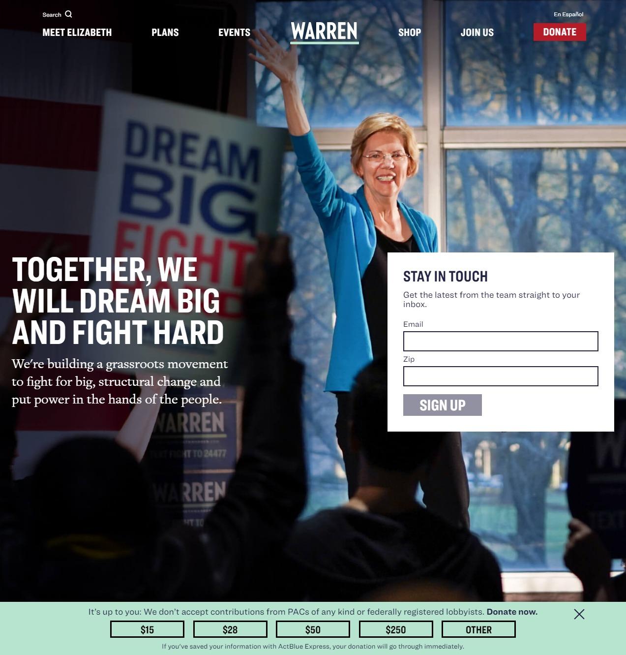 Homepage Snapshot for December 1, 2019: Senator Elizabeth Warren