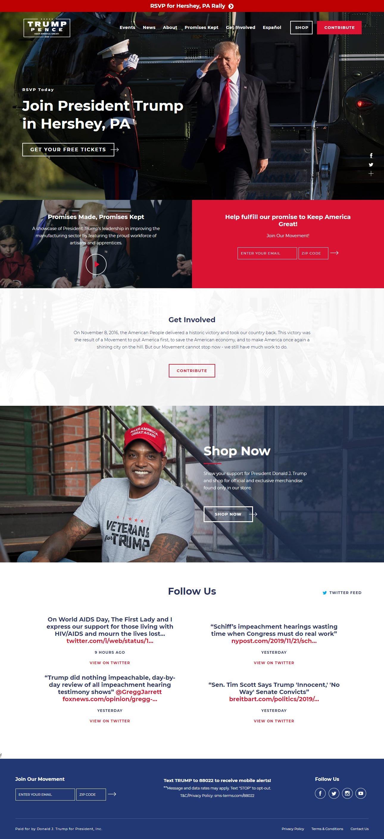 Homepage Snapshot for December 1, 2019: President Donald J. Trump