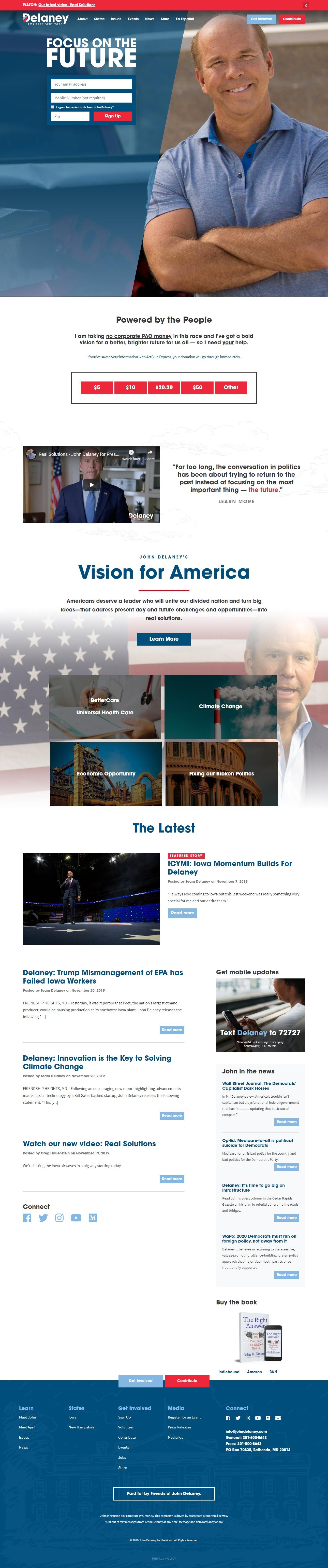 Homepage Snapshot for December 1, 2019: Former Representative John Delaney