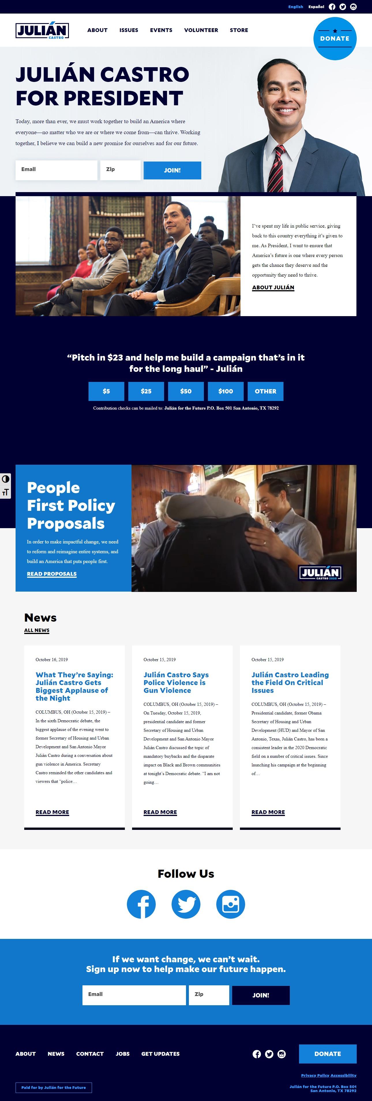 Homepage Snapshot for December 1, 2019: Former Mayor Julián Castro