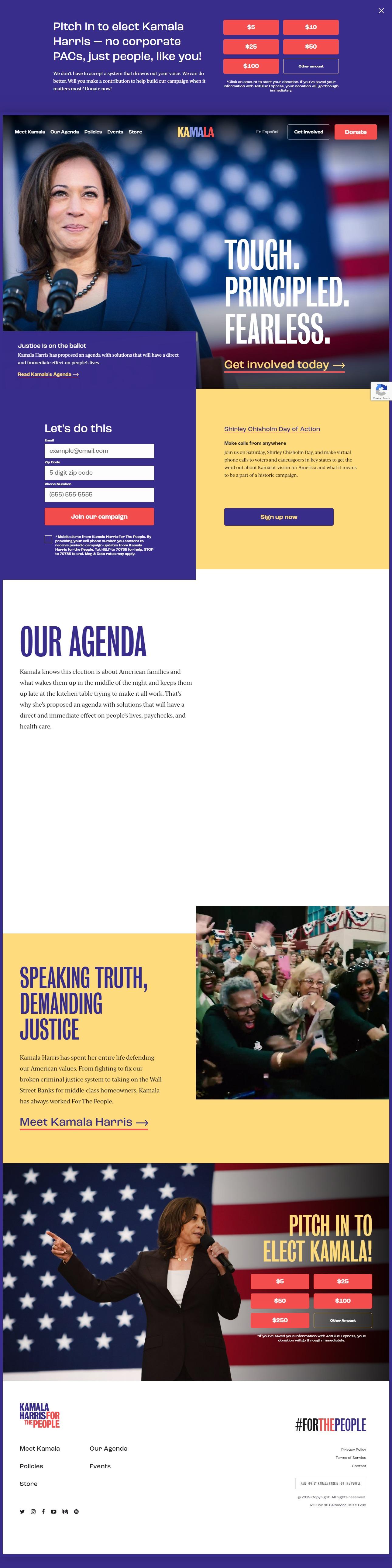 Homepage Snapshot for December 1, 2019: Senator Kamala Harris
