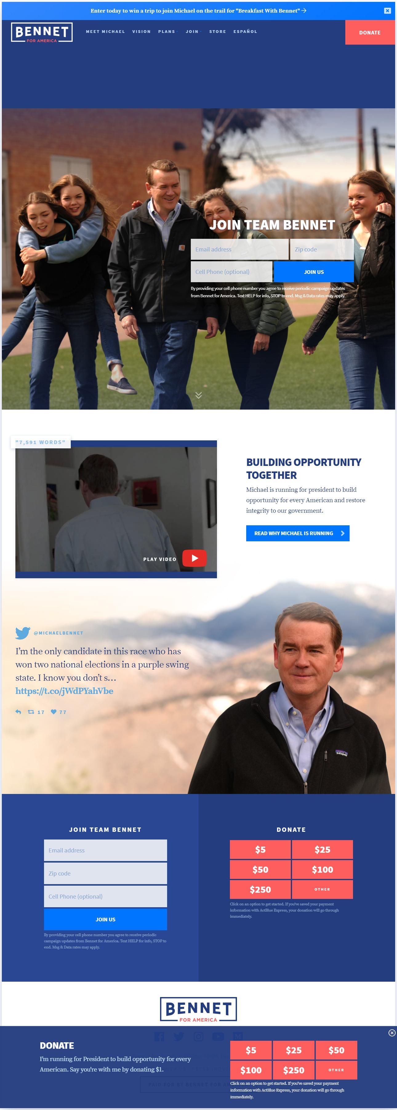 Homepage Snapshot for December 1, 2019: Senator Michael Bennet