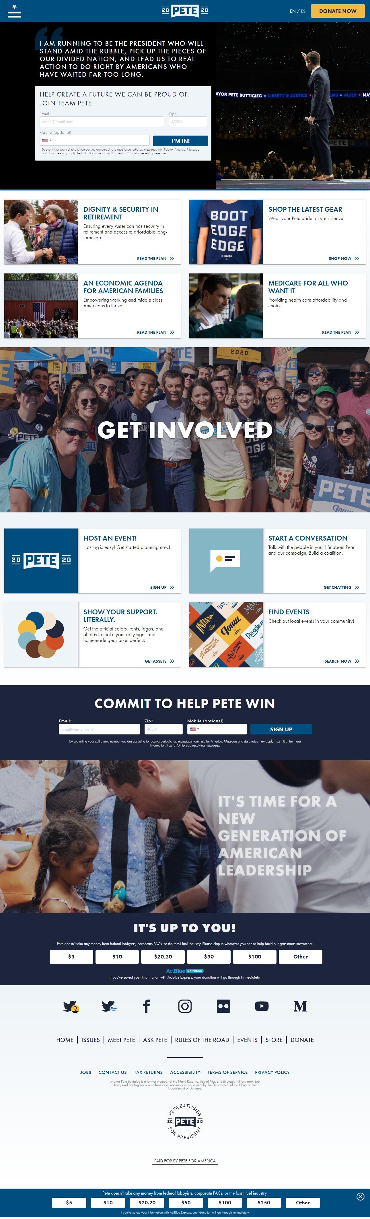 Homepage Snapshot for December 1, 2019: Mayor Pete Buttigieg