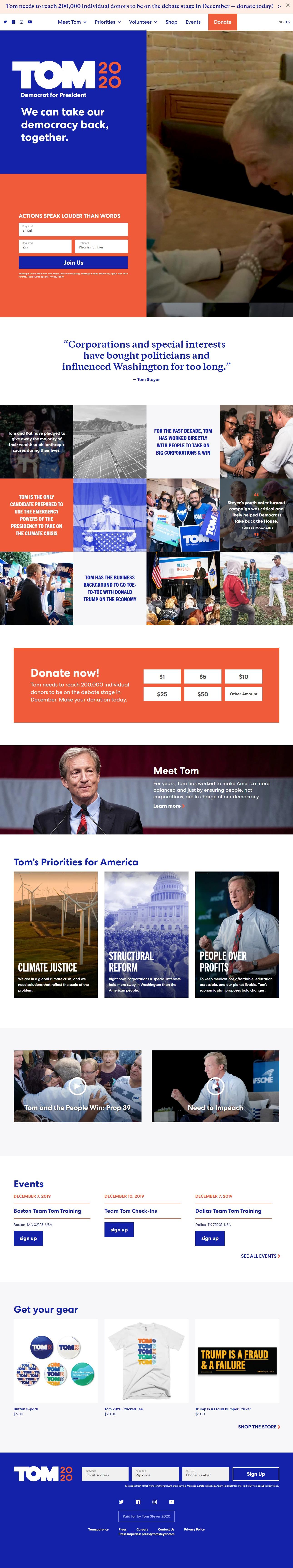 Homepage Snapshot for December 1, 2019: Businessperson Tom Steyer